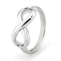 TIONEER Sterling Silver Iconic Classic Infinity Ring, Size 6