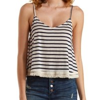 Navy Combo Fringe-Trim Striped Tank Top by Charlotte Russe
