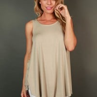 The Sass Shift Tank in Stone