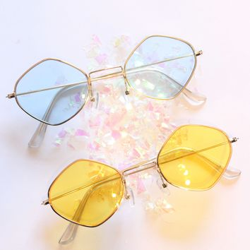 Vintage Diamond Metal Frame Sunglasses