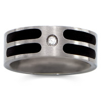 Men's Stainless Steel CZ Primero Band Ring