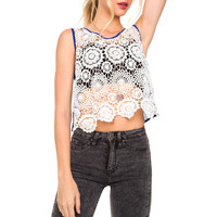 Maryland Lace Crop Top - Blue