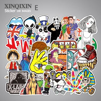 700 kinds of style selected 100pcs/lot Mixed stickers for laptop sticker decal fridge skateboard PVC stickers for Travel Suitcas