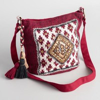 Red Woven Tribal Bucket Bag