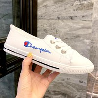Champion 2019 new embroidered letters wild simple white shoes