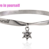 Fashion personality equilibrium bangle, the lettering bracelet (Believe in yourself),a perfect gift !