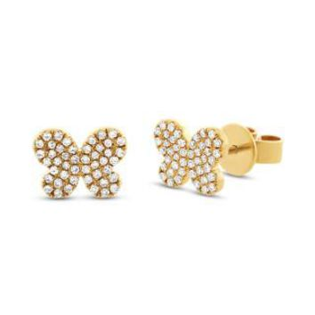 0.22ct 14k Yellow Gold Diamond Pave Butterfly Earring