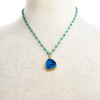 Aqua Drusy on Turquoise Link Necklace, Pendant Necklaces