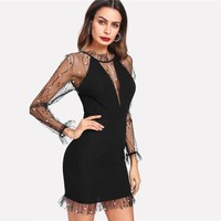 Black Pearl Beading Vine Mesh Panel Dress