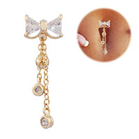 Gold Bow Belly Ring