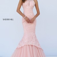 Beaded Lace Mermaid Gown by Sherri Hill
