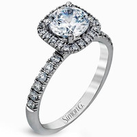 "Simon G. ""Cushion Halo"" Diamond Engagement Ring"