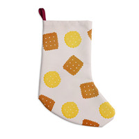 """Strawberringo """"Do You Love Biscuits?"""" Brown Yellow Christmas Stocking"""