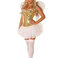 Costume 4 PC Gold Sequin Angel