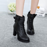 2016 spring and autumn new Genuine  leather boots Martin fashion shoes boots a female Knight boots casual leather shoes women