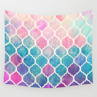 Rainbow Pastel Watercolor Moroccan Pattern Wall Tapestry by Micklyn