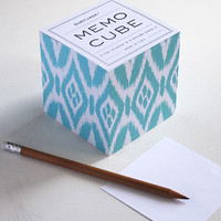 Sticky Memo Cube - Turquoise Ikat