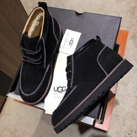 UGG  Trending Men Women's Black Leather Side Zip Lace-up Ankle Boots Shoes High Boots