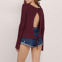 Lace-Up Cutout Back Long Sleeves Tee