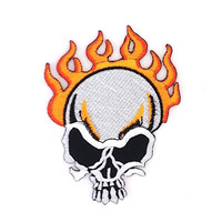 Fire Skull Applique Iron on Patch Size 7.5 x 10 cm