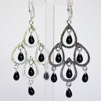 tear drop, womens earrings, glam, silver earrings, dangle earrings, chandelier earrings, black, vintage glass, womens accessories