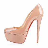 Big size 32-43 High Heels Platform Pumps Shoes 2015 New Arrivals Red Bottom Wedding Shoes PU Platform Pumps Fashion 817-9RB-PA
