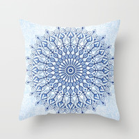 Mandala in blue Throw Pillow by juliagrifoldesigns