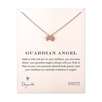 rose gold guardian angel angel wings necklace, 18 inch