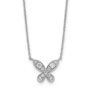 14k White Gold Real Diamond Butterfly 18in Necklace