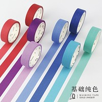 1 Roll 24 Colors Cute Japanese Washi Tap Basic Color DIY Decorative Adhesive Tape Scrapbooking Masking Tape Sticker Photo DIY