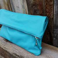 Simple Azure Turquoise Leather Fold Over Clutch
