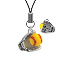 Extra Large Softball and Glove Cell Phone Charm [Wireless Phone Accessory]