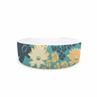 "Zara Martina Mansen ""Teal Color Bouquet"" Green Blue Pet Bowl"