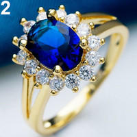 Elegant Oval Cubic Zircon Gold Filled Womens Lady Wedding Jewelry Rings Exotic