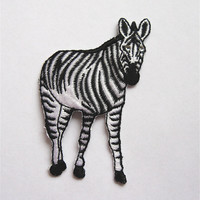 Vintage Sew On Patch Zebra with Sequin Eyes