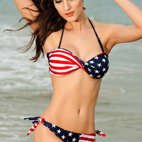 Red and Blue American Flag Print Twist Bandeau Bikini