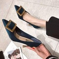 Square-shaped Metal Buckle Decor Shallow Mouth Stiletto Shoes
