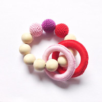 Crochet teething beads, Baby gift for a girl, Valentines day baby toys