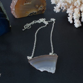 Two stone agate necklace. Set jewelry two necklace. Natural stone broken agate jewelry. White brown transparent stone agate necklace jewelry