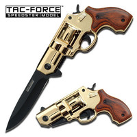 Tac-Force Gold 38 Special Revolver Gun Spring Assist Assisted Knife #760GDW
