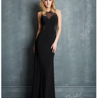 Night Moves by Allure 2014 Prom Dresses - Black Jersey & Sheer Mesh Panel Prom Dress
