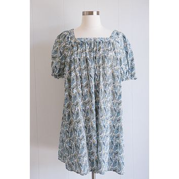 Rheya Pleated Paisley Dress, Blue Multi   Extended Sizes Available