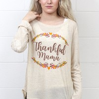 Thankful Mama L/S with Lace Elbow Patches & Back {Beige}