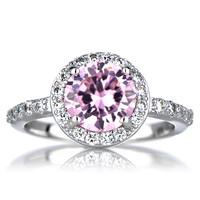 Sterling Silver October Birthstone Ring - Pink CZ