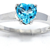 1 Carat Genuine Blue Topaz Heart Ring .925 Sterling Silver Rhodium Finish White Gold Quality