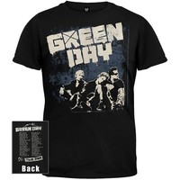 Green Day - Mens Grey Wall 09 Tour T-shirt Large Black