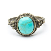 Brandy ♥ Melville |  Silver Ring with Turquoise Stone - Just In