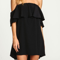 Black Off Shoulder Ruffled Shift Dress