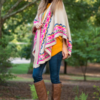 Over The Shoulder Shawl, Cream