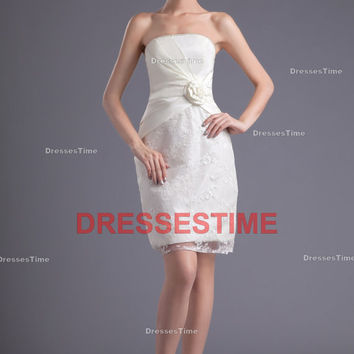 Short evening dress - white bridesmaid dress in formal / lace short party dress 2013 / cheap satin bridesmaid dress for juniors